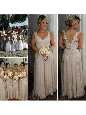 Champagne A-Line/Princess Sweetheart Sleeveless Long Chiffon Bridesmaid Dress