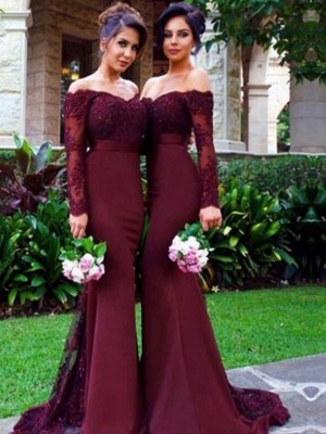 Burgundy Trumpet/Mermaid Off-the-Shoulder Long Sleeves Satin Sweep/Brush Train Bridesmaid Dress