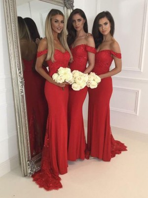 Red Trumpet/Mermaid Off-the-Shoulder Sleeveless Jersey Long Bridesmaid Dress