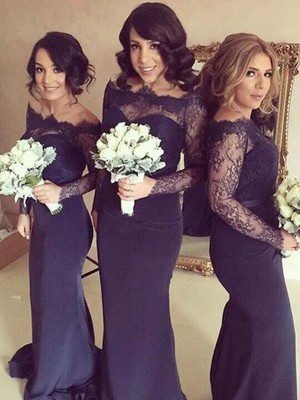 Dark Navy Trumpet/Mermaid Off-the-Shoulder Long Sleeves Satin Sweep/Brush Train Bridesmaid Dress