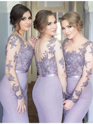 Sage Trumpet/Mermaid Scoop Long Sleeves Jersey Long Bridesmaid Dress