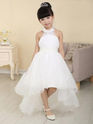 A-Line/Princess High Neck Sweep/Brush Train Sleeveless Beading Organza Flower Girl Dresses