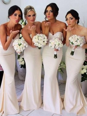 Trumpet/Mermaid Sweetheart Sleeveless Beading Sweep/Brush Train Satin Bridesmaid Dress