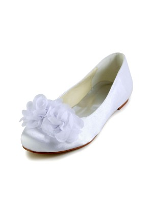 Chicregina Womens Satin Flat Heel Closed Toe Flats Wedding Shoes with Satin Flower