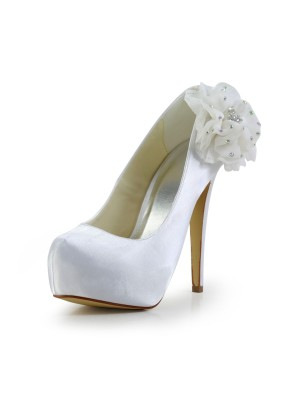 Chicregina Womens Satin Stiletto Heel Closed Toe Platform Wedding Shoes with Rhinestone
