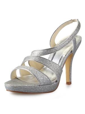 Chicregina Womens Cone Heel Platform Satin Peep Toe Sandal Shoes with Glitter