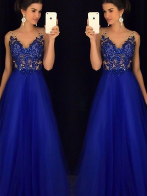 A-Line/Princess Sleeveless V-neck Floor-Length Tulle Dresses With Applique