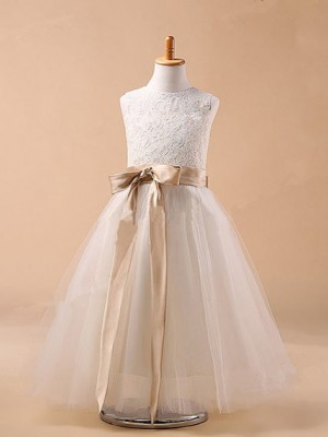 Chicregina Long Ball Gown Jewel Sleeveless Bowknot Communion Dress with Tulle