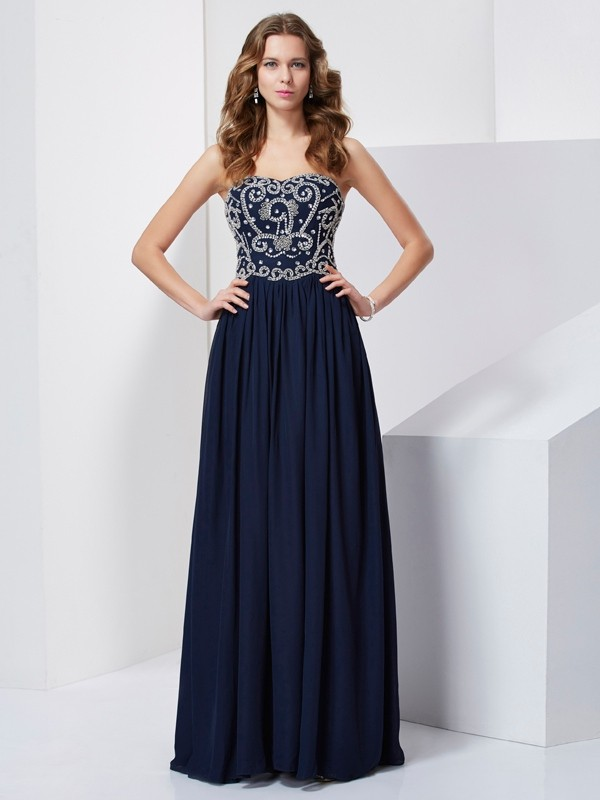 Chicregina A-Line Long Strapless Chiffon Dress With Applique