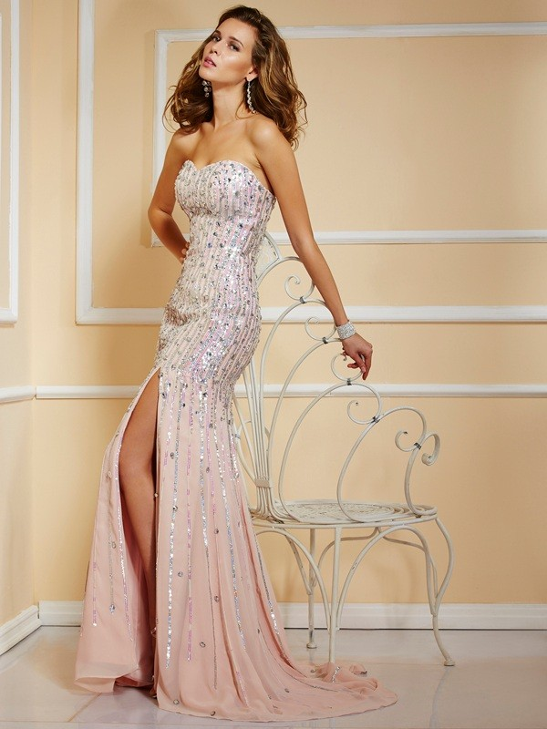 Chicregina A-Line Strapless Chiffon Long Dress With Rhinestone