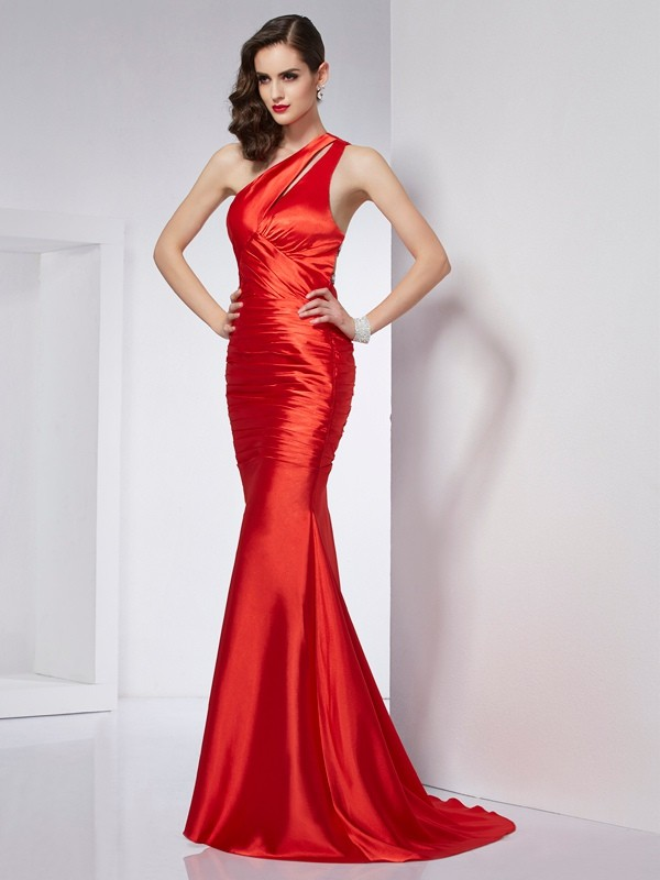 Sheath/Column One-Shoulder Beading Long Elastic Woven Satin Dresses