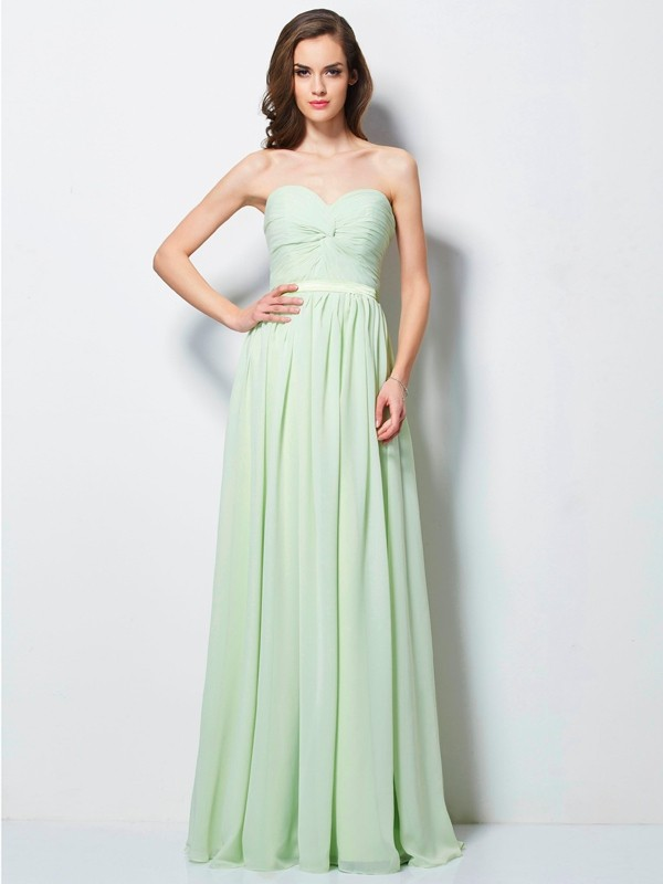 Chicregina A-Line Sweetheart Long Chiffon Dress With Ruffles
