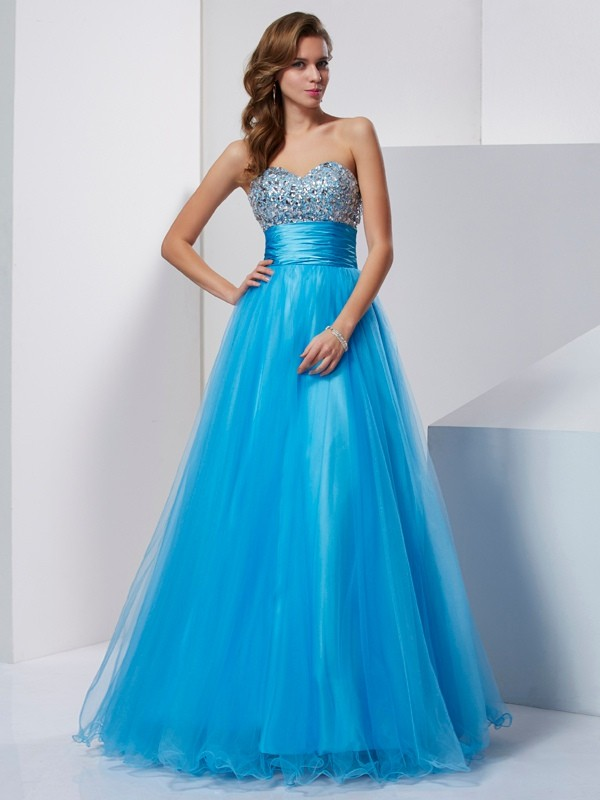 Chicregina A-Line Strapless Long Tulle Dress With Crystal
