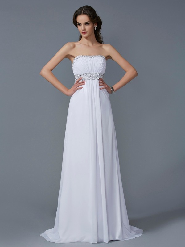 Chicregina A-Line Strapless Chiffon Sweep Train Dress With Embroidery