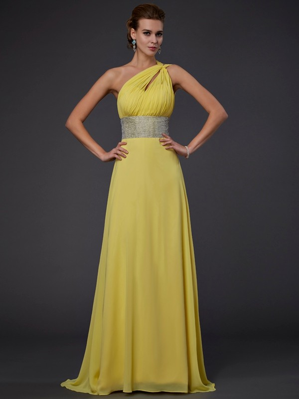 Elegant A-Line One-shoulder Long Chiffon Dress With Beading
