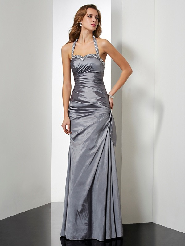 Chicregina Mermaid Halter Long Taffeta Dress With Sequin