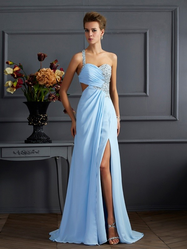 Chicregina Sheath One-Shoulder Long Chiffon Dress With Beading
