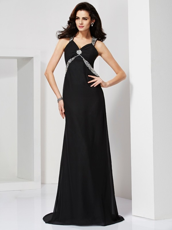 Chicregina Sheath Straps Sweep Train Chiffon Dress With Beading
