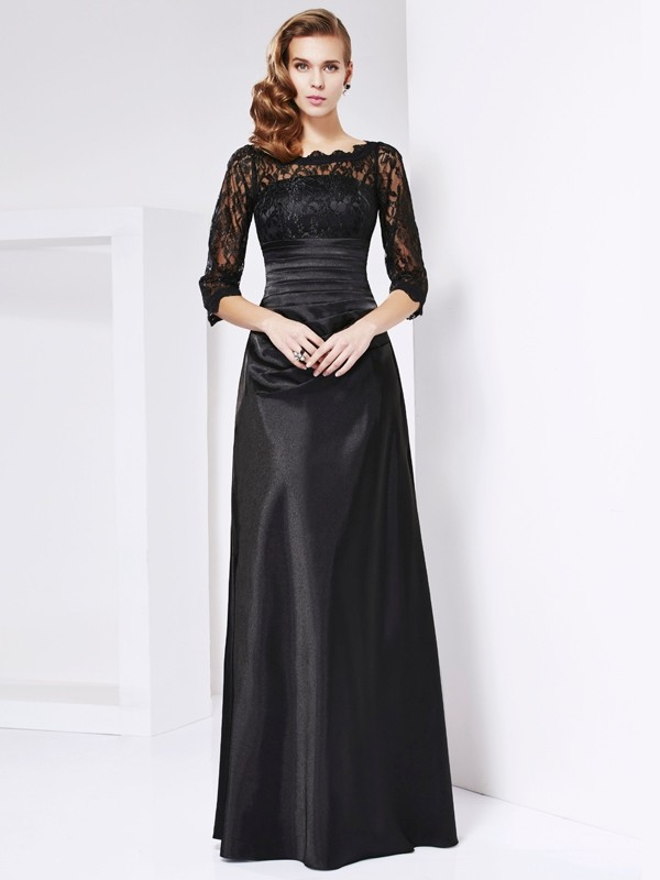 Chicregina A-Line 3/4 Sleeves Off-the-shoulder Elastic Woven Satin Dress With Beading