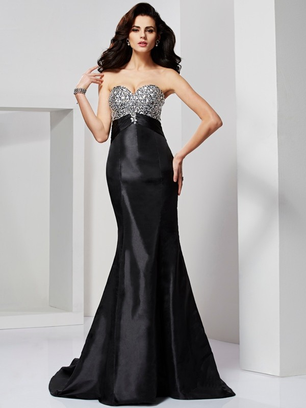 Chicregina Mermaid Sweetheart Sweep Train Taffeta Dress With Rhinestone