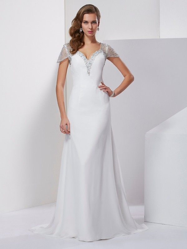 Chicregina A-Line Sweetheart Short Sleeves Chiffon Sweep Train Dress With Lace
