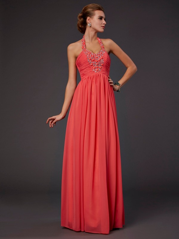 Chicregina A-Line Long Halter Chiffon Dress With Beading