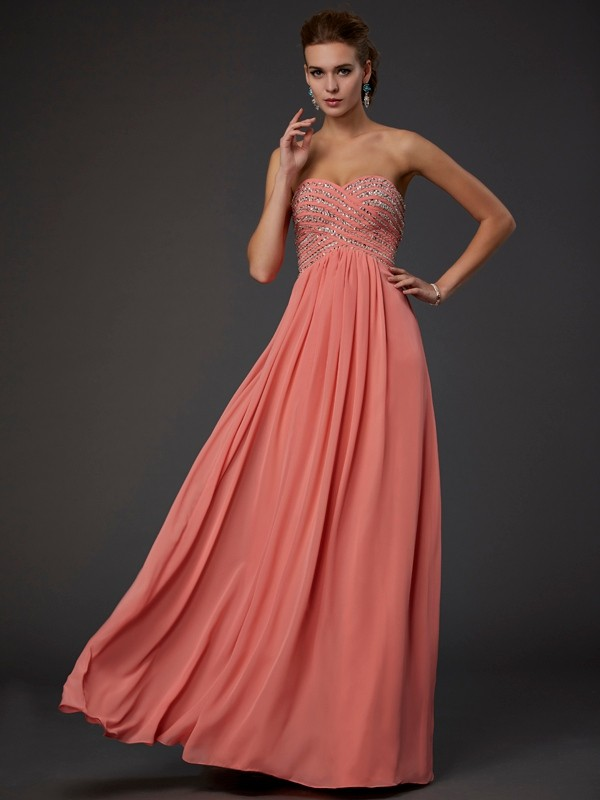 Chicregina Sleeveless A-Line Sweetheart Long Chiffon Dress With Pleats