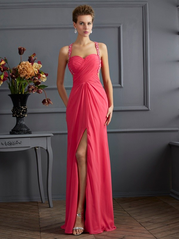 Chicregina Empire Sweetheart Chiffon Long Dress With Applique