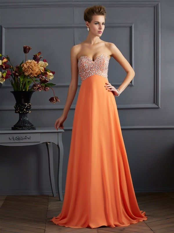 Chicregina A-Line Sweetheart Chiffon Long Dress With Rhinestone