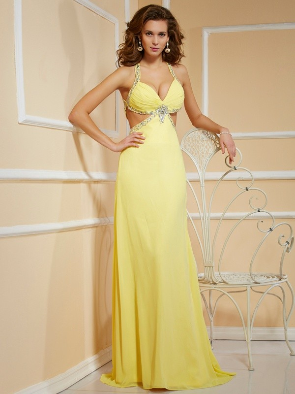 Chicregina Sheath Spaghetti Straps Long Chiffon Dress With Sequin