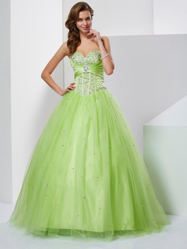 Chicregina Ball Gown Sweetheart Long Tulle Dress With Beading