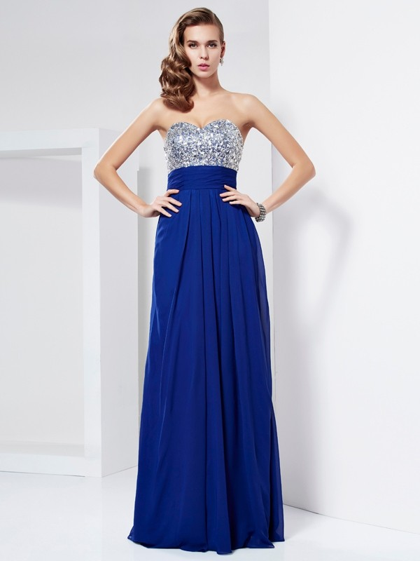 Chicregina Sleeveless Sheath Sweetheart Long Chiffon Dress With Rhinestone