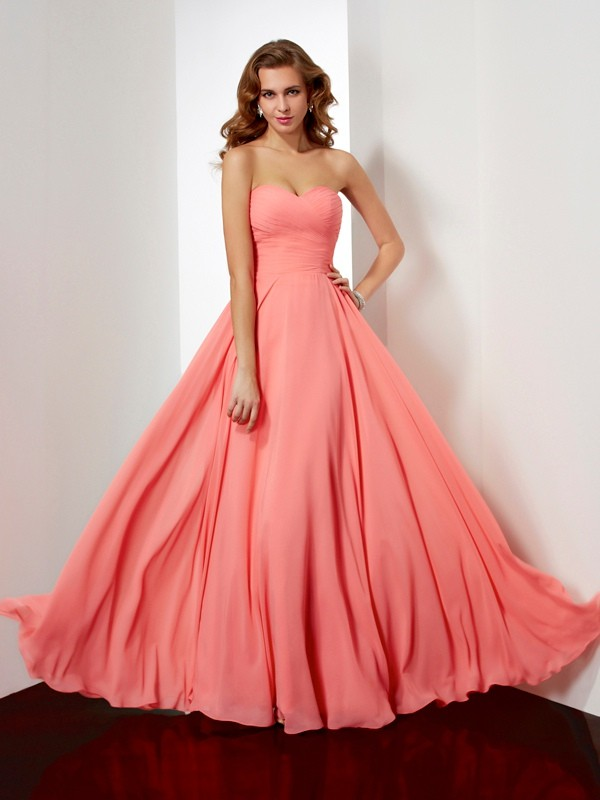 Chicregina A-Line Sweetheart Long Chiffon Dress With Beading