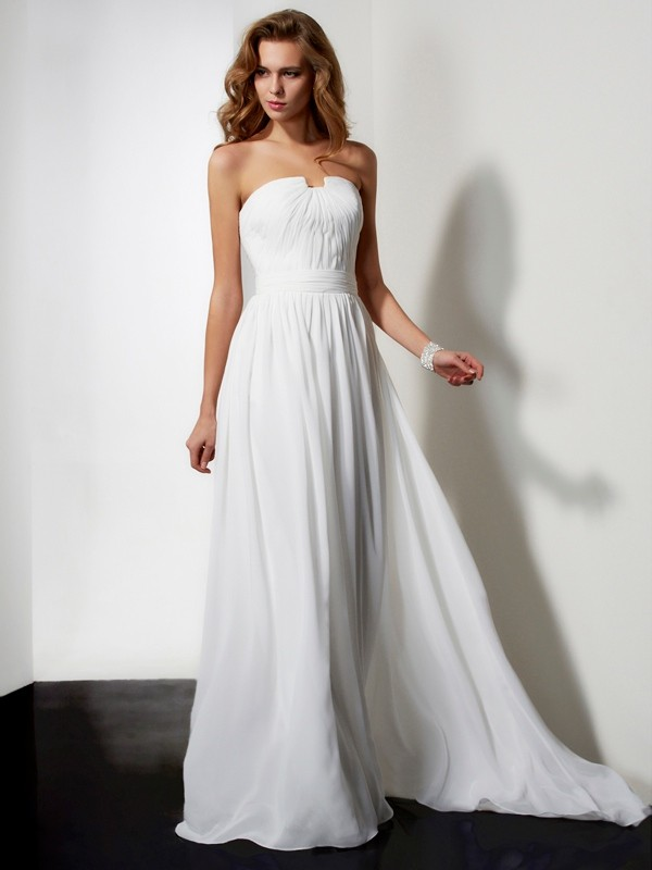 Chicregina A-Line Long Strapless Chiffon Dress With Beading