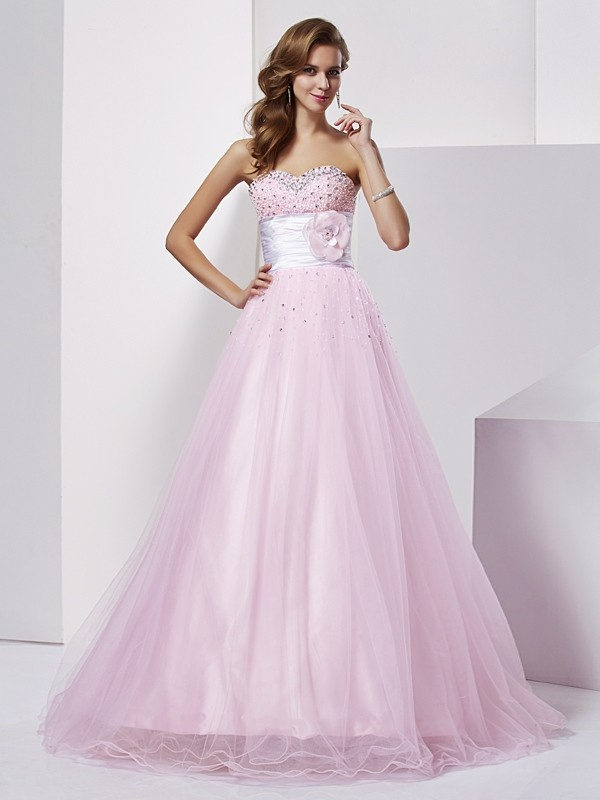 Chicregina Ball Gown Sweetheart Net Elastic Woven Satin Long Dress With Sequin