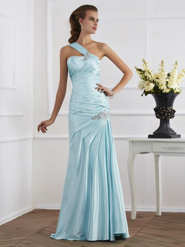 Chicregina Mermaid One-Shoulder Long Elastic Woven Dress With Ruffles