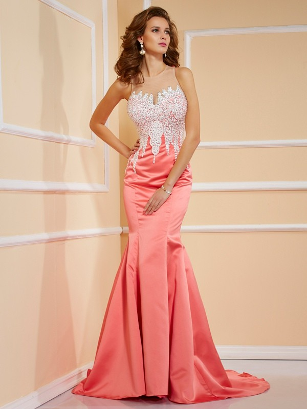Chicregina Sheath Sweetheart Satin Sweep Train Dress With Rhinestone