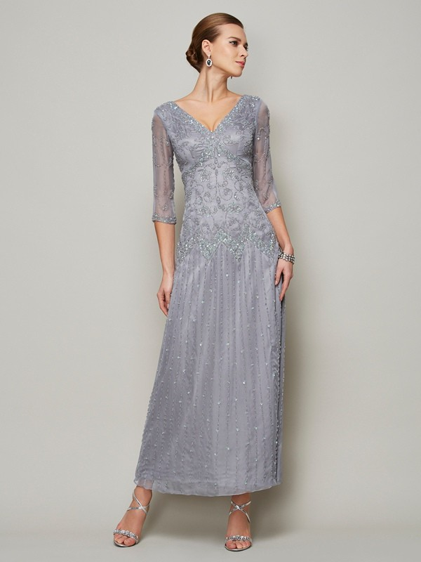 Chicregina Sheath V-neck 1/2 Sleeves Elastic Woven Satin Mother Of The Bride Dress With Embroidery