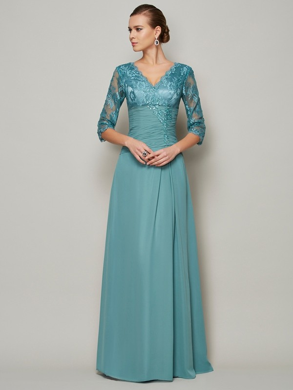 Chicregina A-Line Chiffon High Neck 3/4 Sleeves Lace Mother Of The Bride Dress With Beading