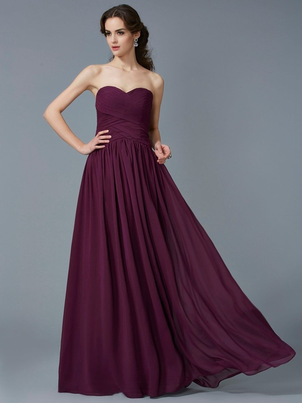 Chicregina Sleeveless A-Line Sweetheart Long Chiffon Dress With Beading