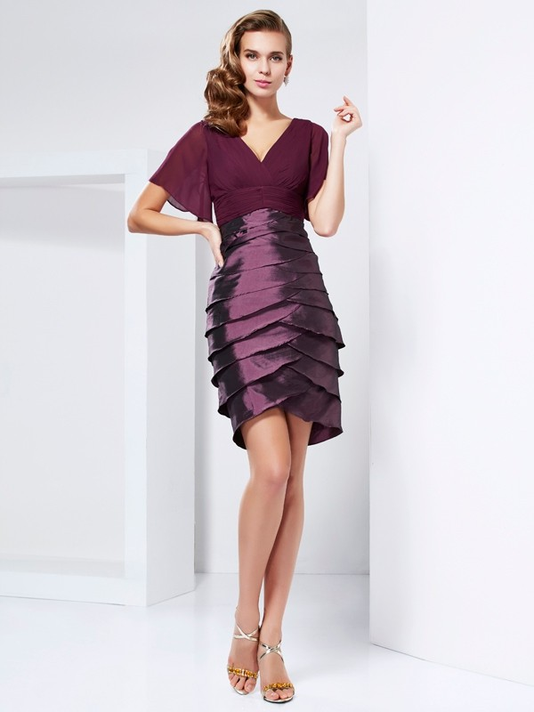 Chicregina A-Line Short Sleeves V-neck Taffeta Mother Of The Bride Dress With Beading