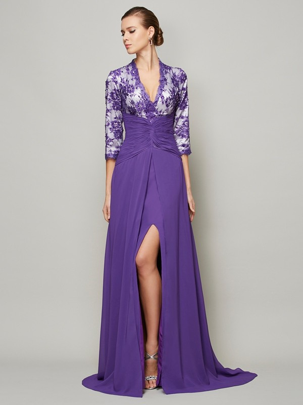 Chicregina A-Line Long V-neck Sweep Train Chiffon Dress With Beading