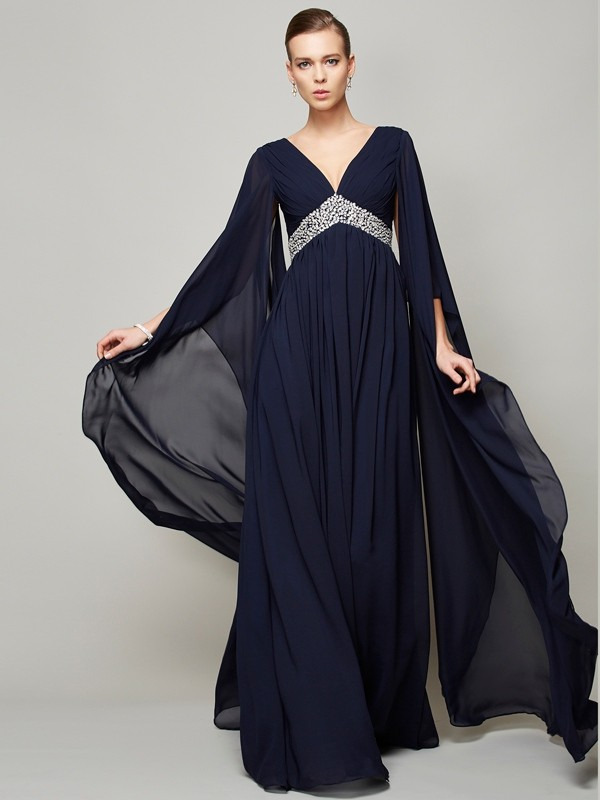 Chicregina A-Line Chiffon V-neck Long Sleeves Long Dress With Beading