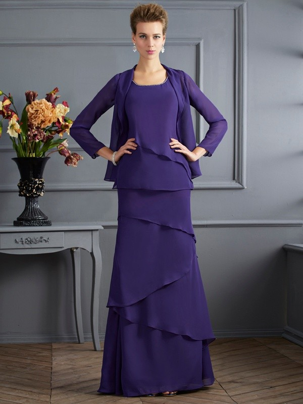 Chicregina Sheath Scoop Long Chiffon Mother Of The Bride Dress With Ruffles
