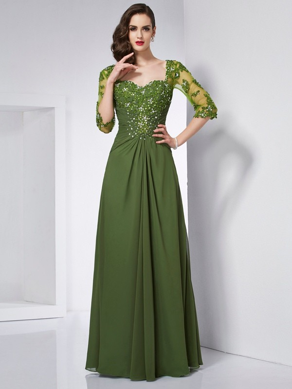 Chicregina A-Line Sweetheart 3/4 Sleeves Chiffon Long Dress With Beading