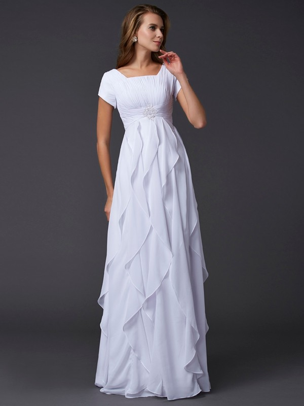 Chicregina Sheath Short Sleeves Square Chiffon Long Dress With Ruffles