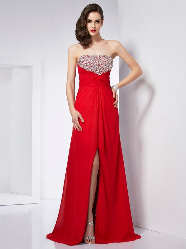 Chicregina A-Line Strapless Chiffon Long Dress With Sequin