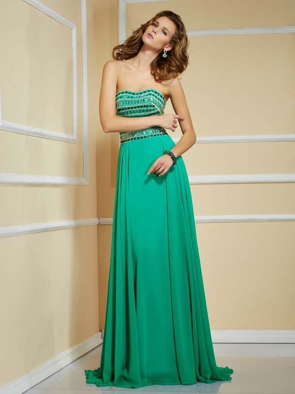 Chicregina A-Line Strapless Sweep Train Chiffon Dress With Beading