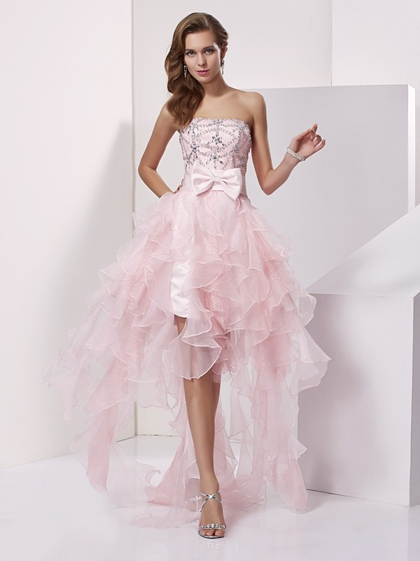 Chicregina A-Line Strapless Asymmetrical Organza Dress With Applique