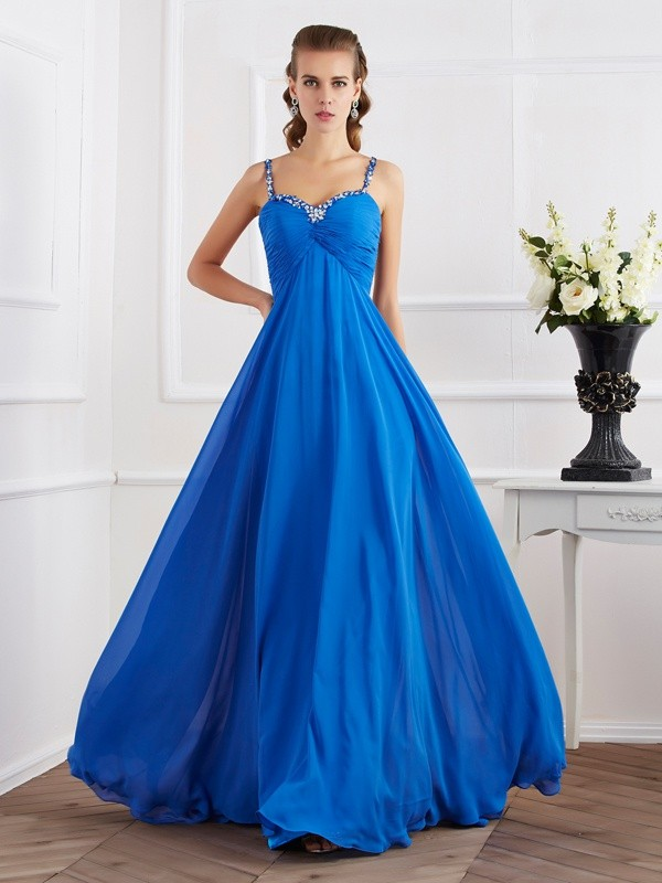 Chicregina Sleeveless A-Line Spaghetti Straps Long Chiffon Dress With Beading